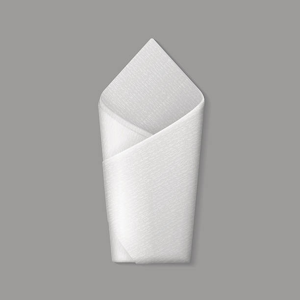stockillustraties, clipart, cartoons en iconen met vector white folded envelope napkin top view isolated - servet