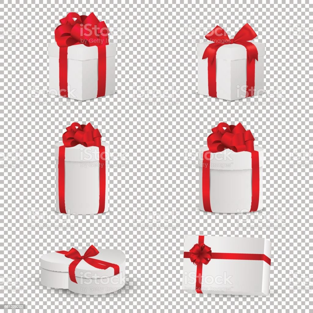 Vector white gift box with red bow set isolated on transparent background. Design template in EPS10 vector art illustration