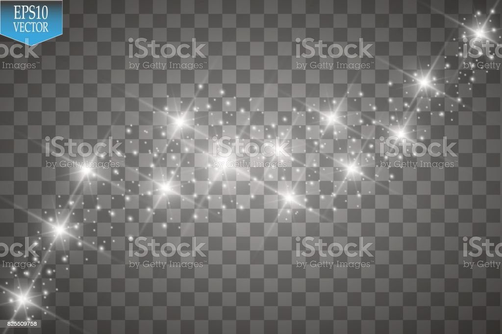 Vector white glitter wave illustration. White star dust trail sparkling particles isolated on transparent background