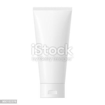 istock Vector white glossy plastic tube with cap 950152376