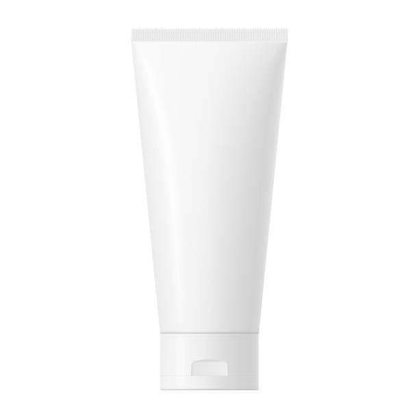 Vector white glossy plastic tube with cap Realistic mock up of a package. Vector white glossy plastic tube with cap for cosmetics, body cream, skin care, gel, lotion, glue, toothpaste. Front side view. 3D illustration. tube stock illustrations