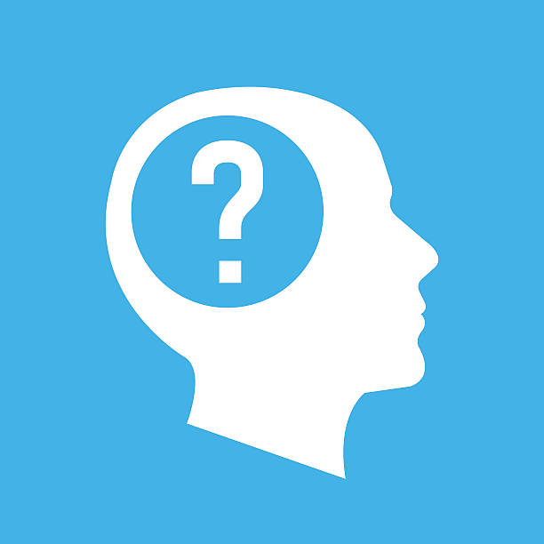 Vector white human head, face profile silhouette with question mark White human head, face profile silhouette with question mark. Flat design vector illustration isolated on blue background confused face stock illustrations