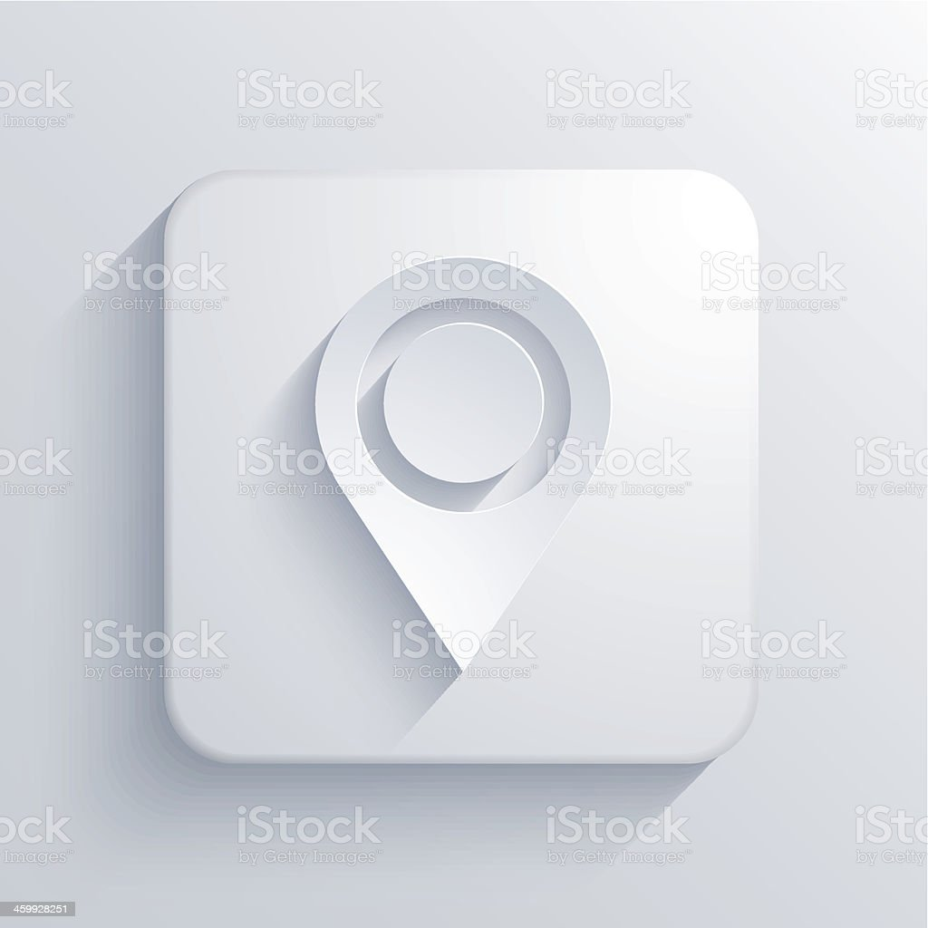 Vector white location icon on square tile isolated on white royalty-free stock vector art