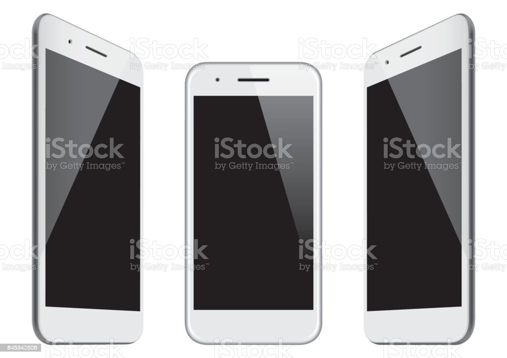 Vector white mobile phone templates vector art illustration