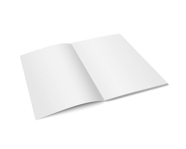 Vector white mock up of magazine isolated. Vector white mock up of magazine isolated. Opened vertical magazine, brochure, book or notebook template on white background. 3d illustration for your design opening stock illustrations