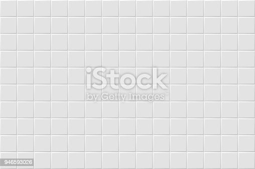 Vector white modern abstract background with light gray mat square tiles pattern. Seamless mosaic texture. Realistic 3d illustration.