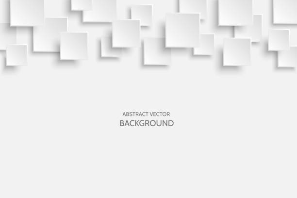 vector white modern abstract background - square shape stock illustrations