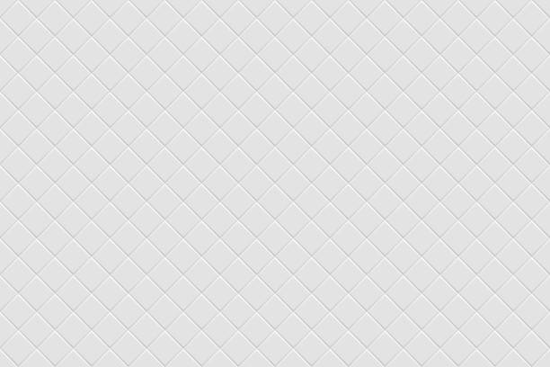 Vector white modern abstract background Vector white modern abstract background with light gray mat diagonal square tiles pattern. Seamless mosaic texture. Realistic 3d illustration. bathroom patterns stock illustrations