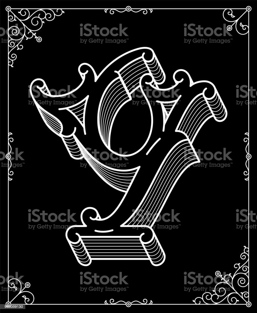 Vector white on black  letter Y royalty-free vector white on black letter y stock vector art & more images of abstract