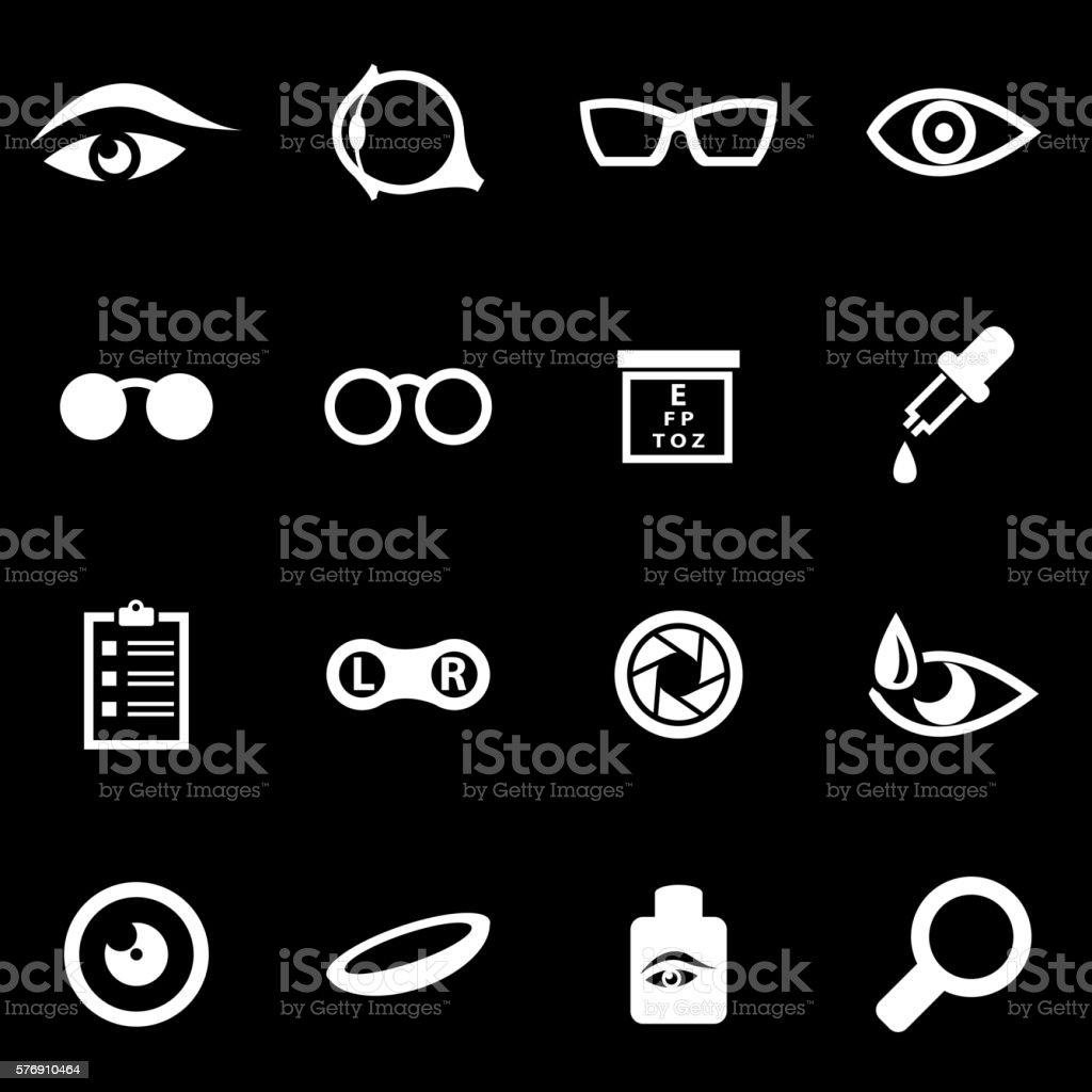 Vector white optometry icon set vector art illustration