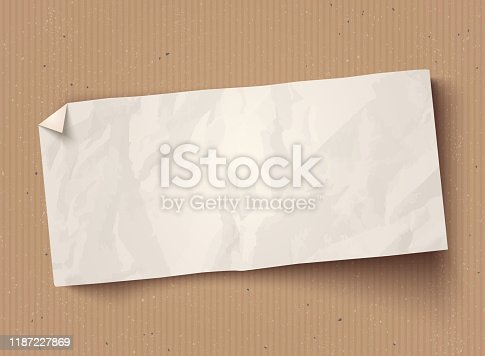 Vector illustration of a white paper texture  on vintage cardboard background. Vector white paper banner on old cardboard.