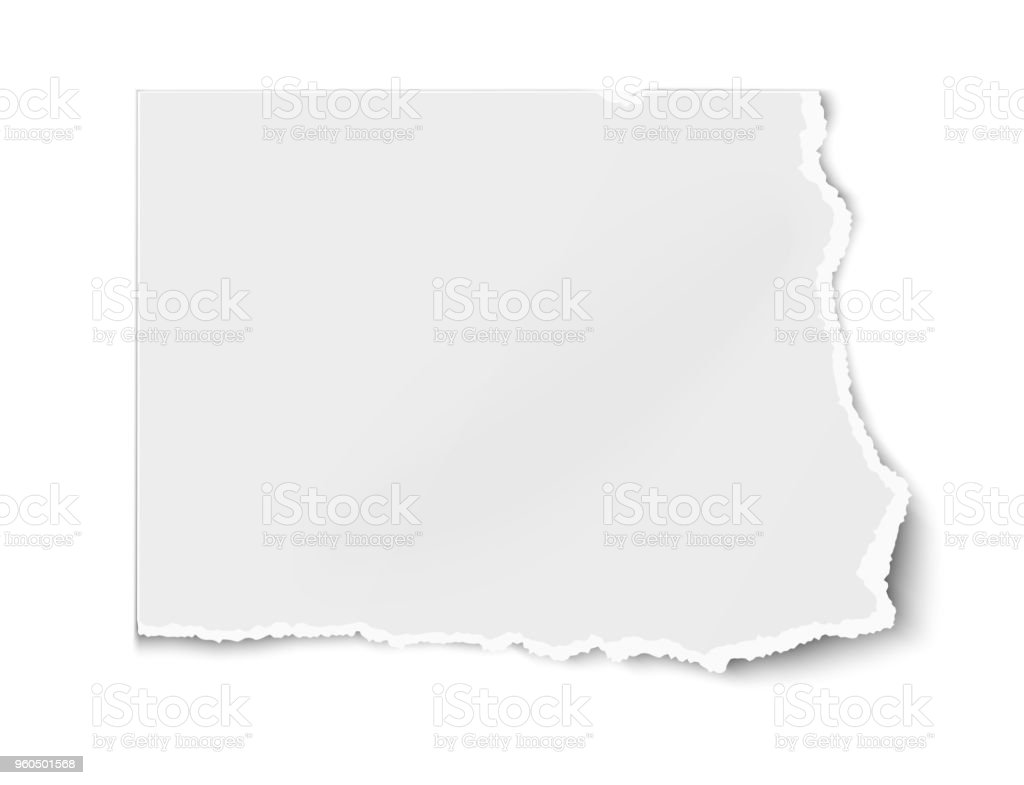 Vector white paper tear for memo note isolated on white background with soft shadow. vector art illustration