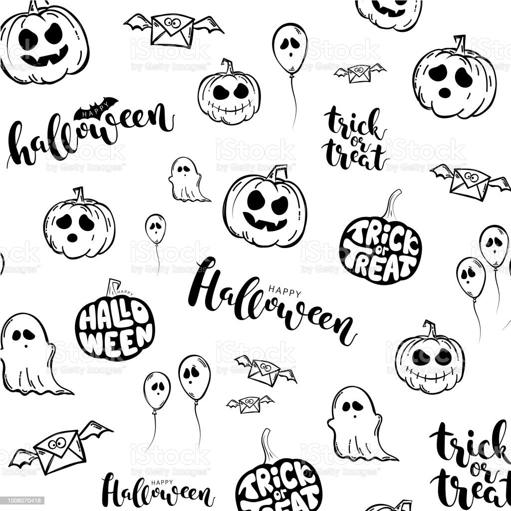 Vector White Pattern With Halloween Symbols Stock Vector Art More
