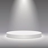 Vector white pedestal for product presentation. Round white stage podium.