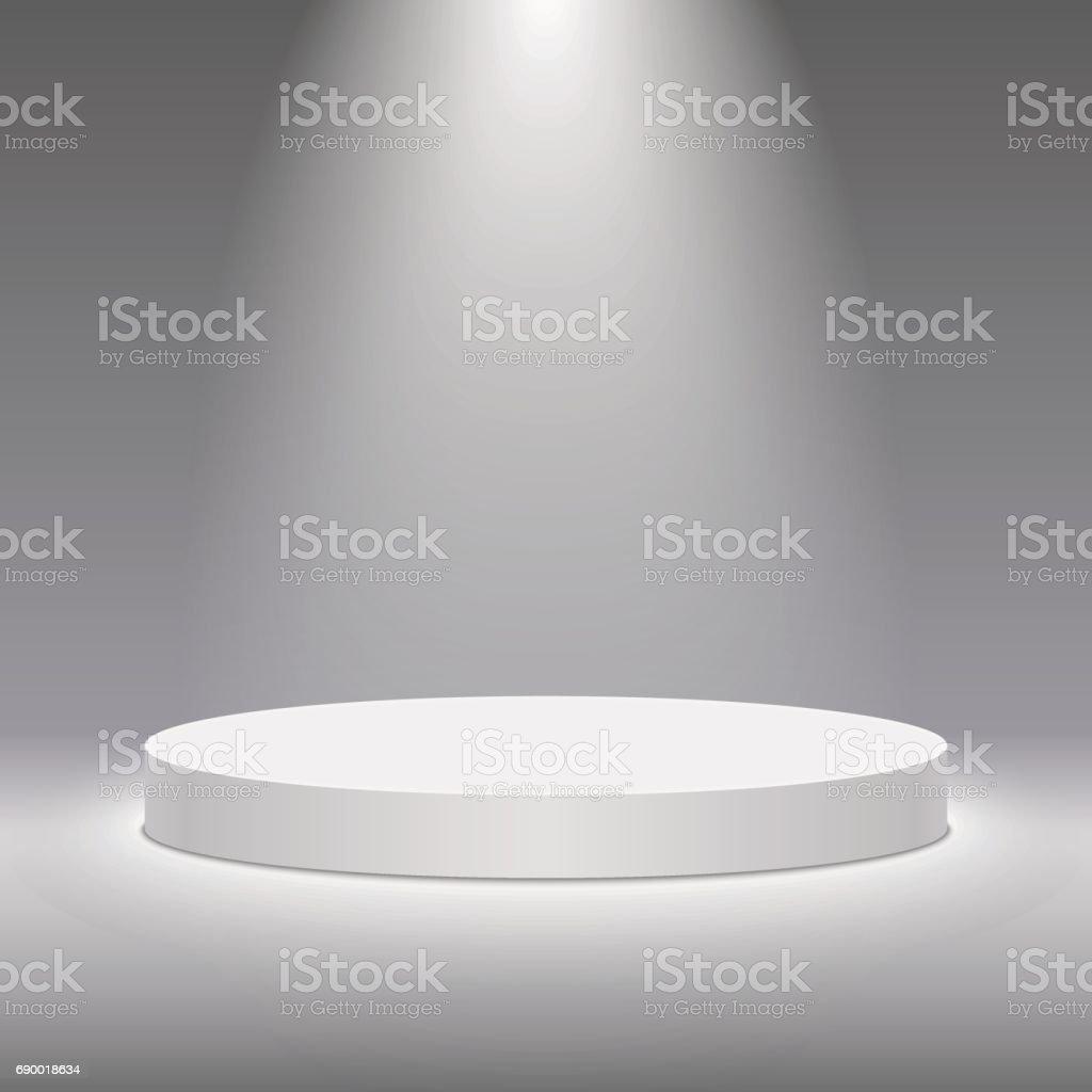 Vector white pedestal for product presentation. Round white stage podium. vector art illustration