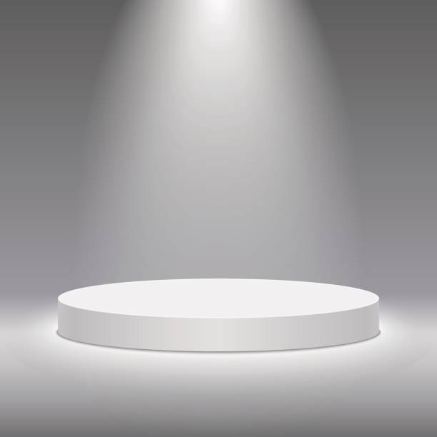 Vector white pedestal for product presentation. Round white stage podium. Round white stage podium illuminated with light. Stage vector backdrop. Festive podium scene for award ceremony on white, grey background. Vector white pedestal for product presentation. cylinder stock illustrations