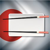 Vector White plate with chopsticks  on Japanese flag background
