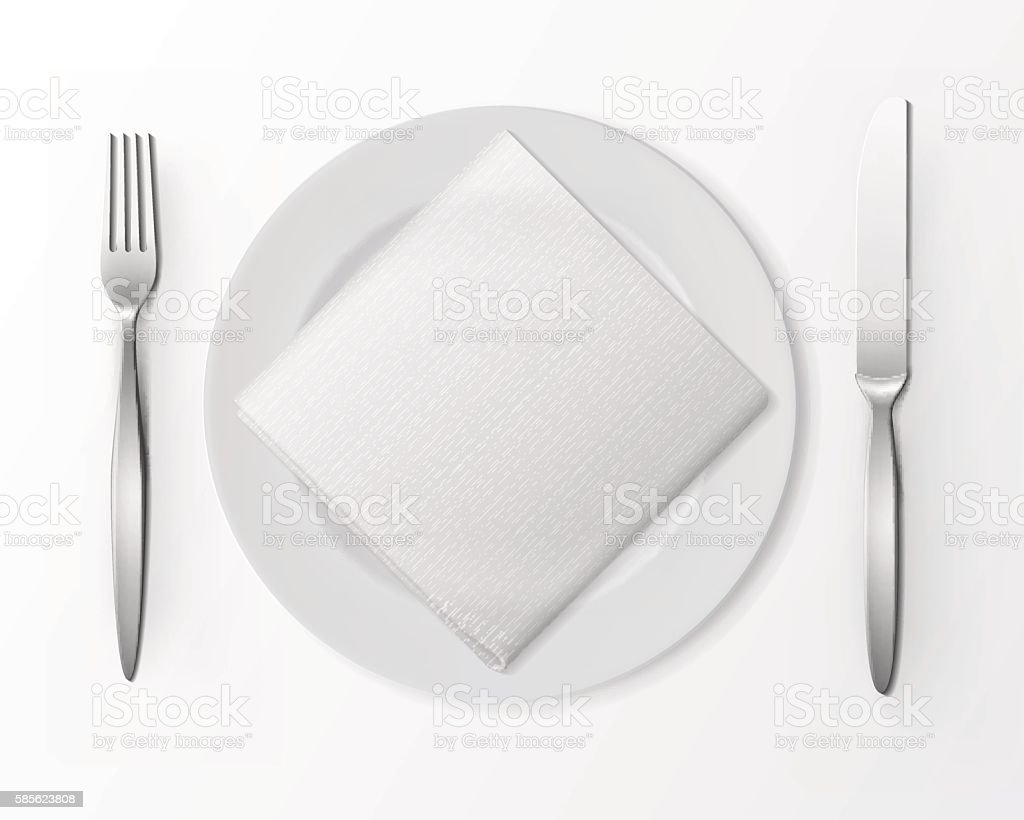 Vector White Plate with Silver Fork and Knife and Napkin vector art illustration