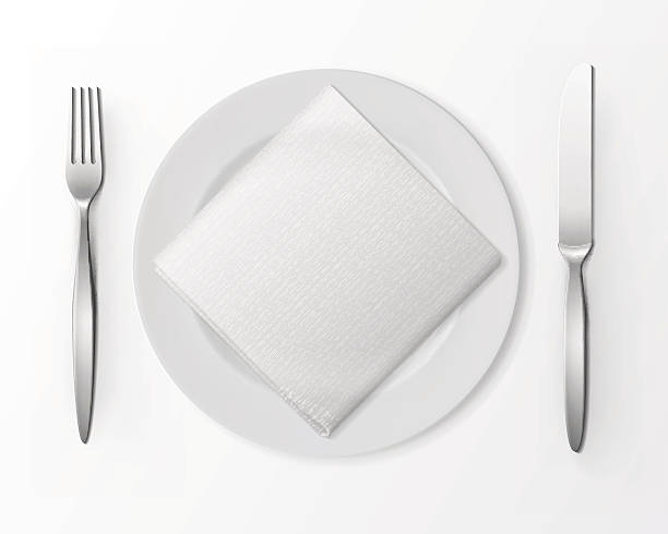 stockillustraties, clipart, cartoons en iconen met vector white plate with silver fork and knife and napkin - servet