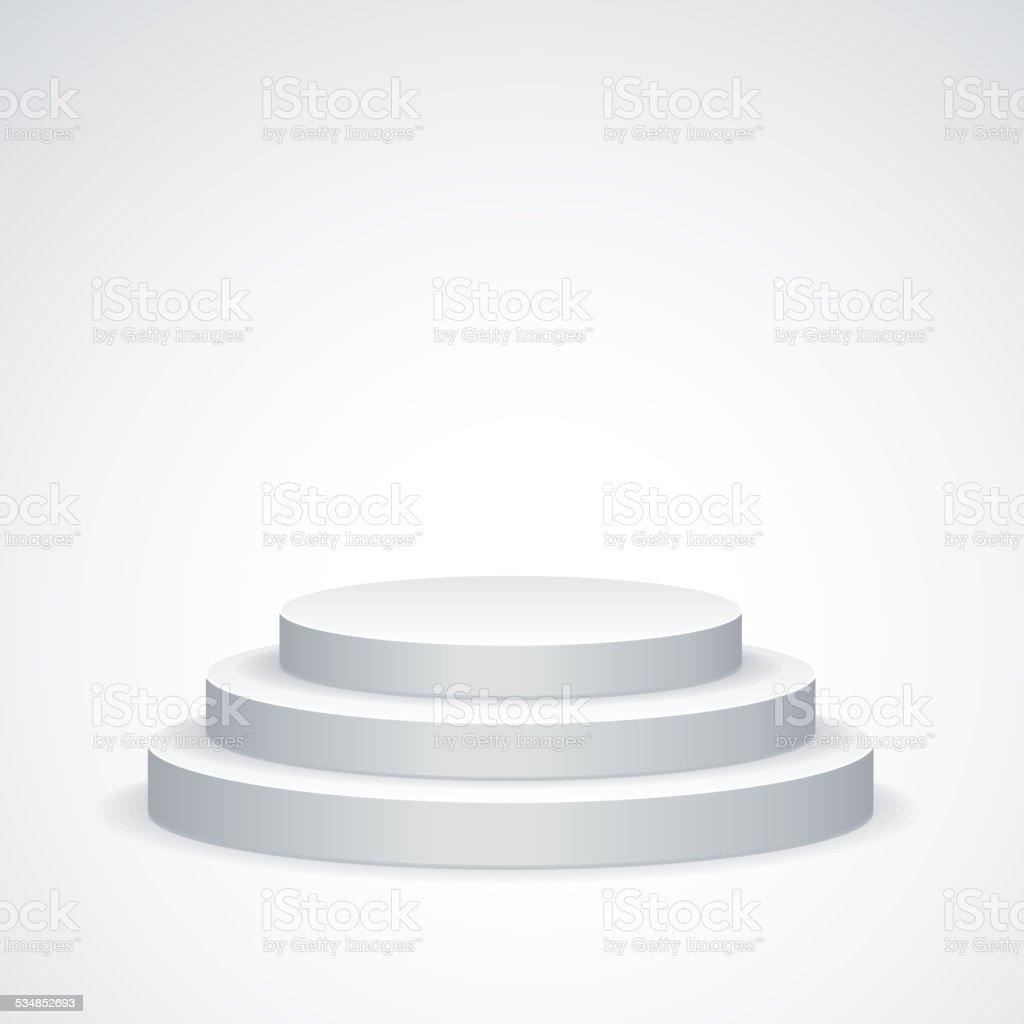 Vector white podium vector art illustration