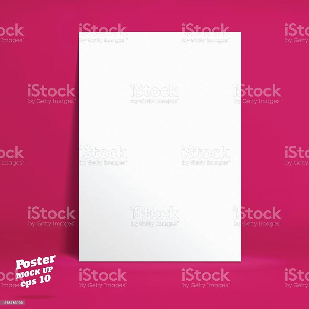 Vektor : Weiße Plakat in lebendige rosa Atelier Zimmer – Vektorgrafik