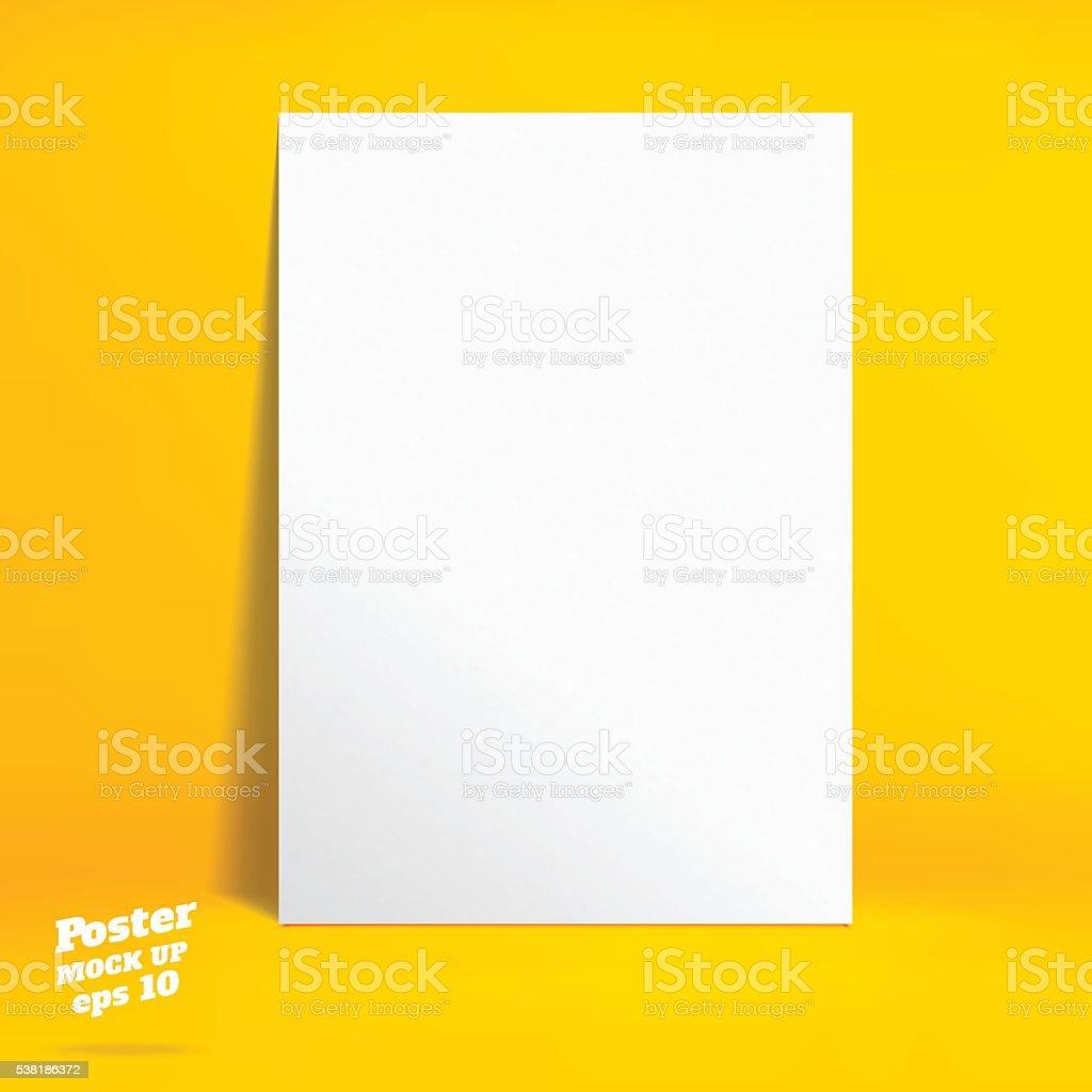 Vektor : Weiße Plakat im lebhaften gelben studio Zimmer – Vektorgrafik