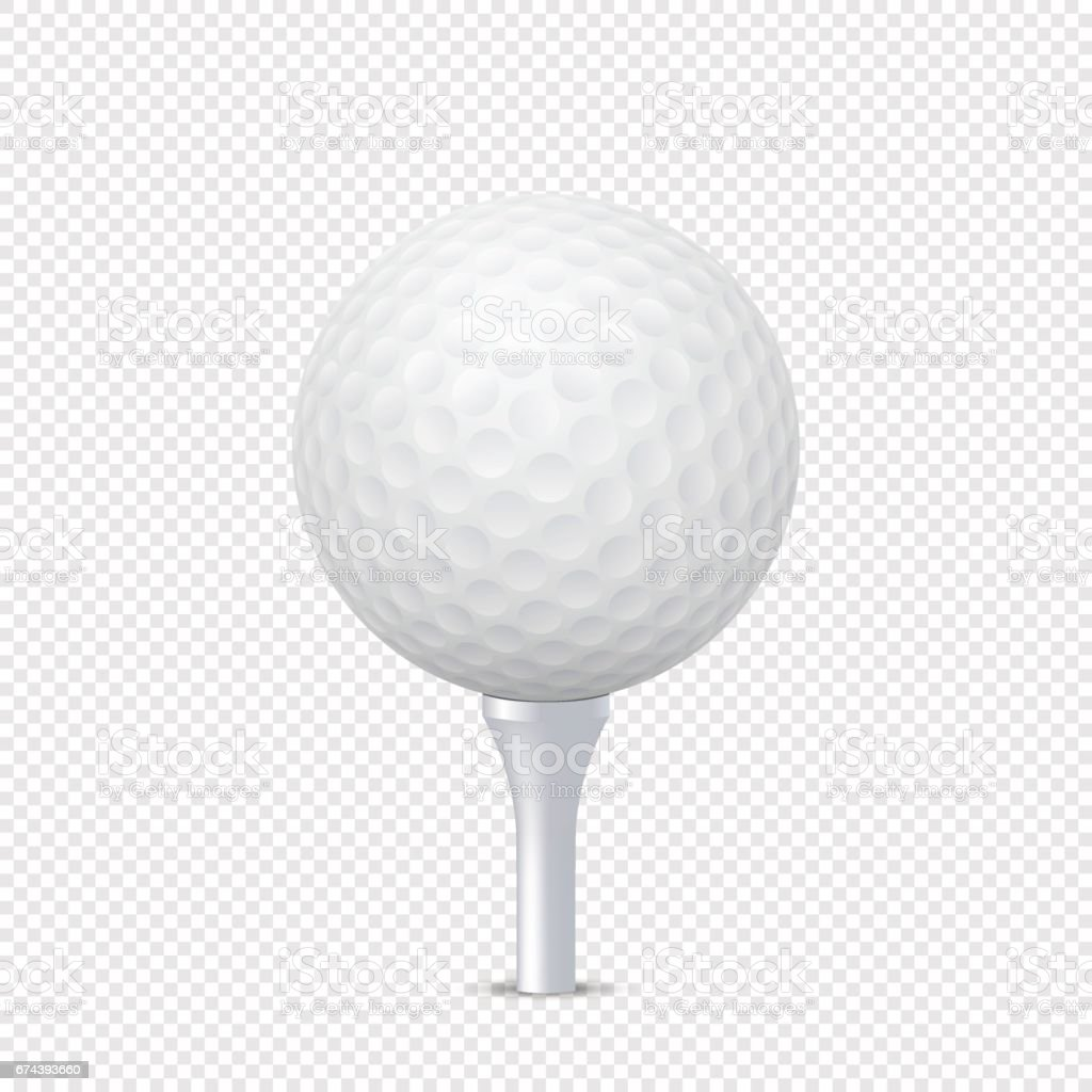 Vector white realistic golf ball template on tee - isolated. Design template in EPS10 vector art illustration