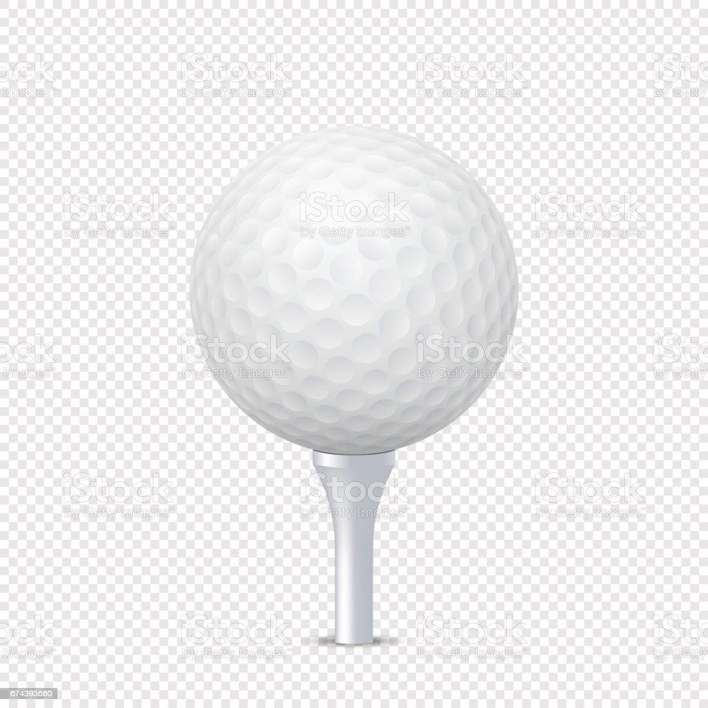 Vectores blanco golf realista bola la plantilla en tee - aislado. Plantilla de diseño en EPS10 - ilustración de arte vectorial