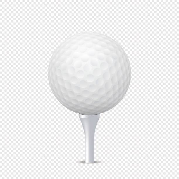 Vector white realistic golf ball template on tee - isolated. Design template in EPS10 Vector white realistic golf ball template on tee - isolated. Design template, EPS10 illustration. golf ball stock illustrations