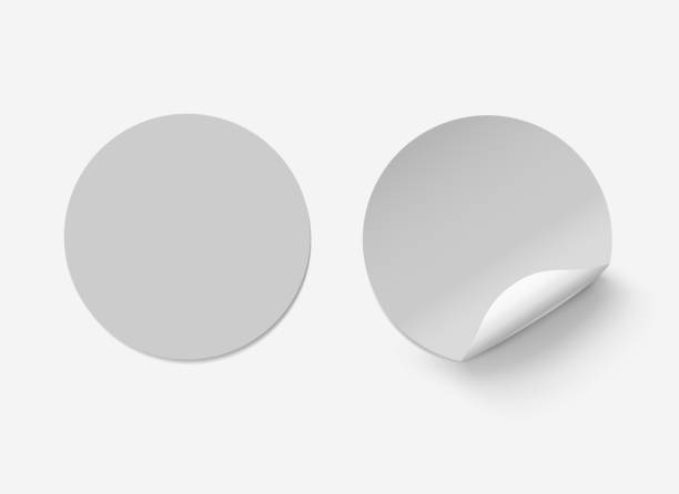 vector white realistic grey round paper adhesive stickers with curved corner on transparent background. - naklejka stock illustrations