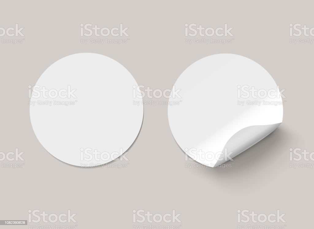 Vector white realistic round paper adhesive stickers with curved corner on transparent background. royalty-free vector white realistic round paper adhesive stickers with curved corner on transparent background stock illustration - download image now