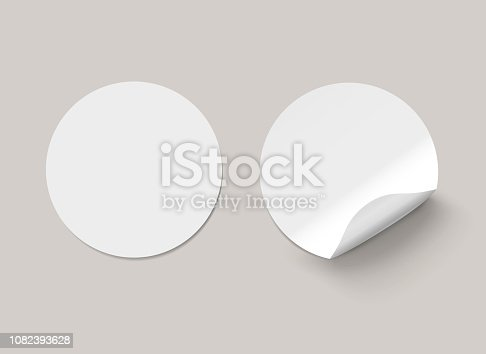 istock Vector white realistic round paper adhesive stickers with curved corner on transparent background. 1082393628