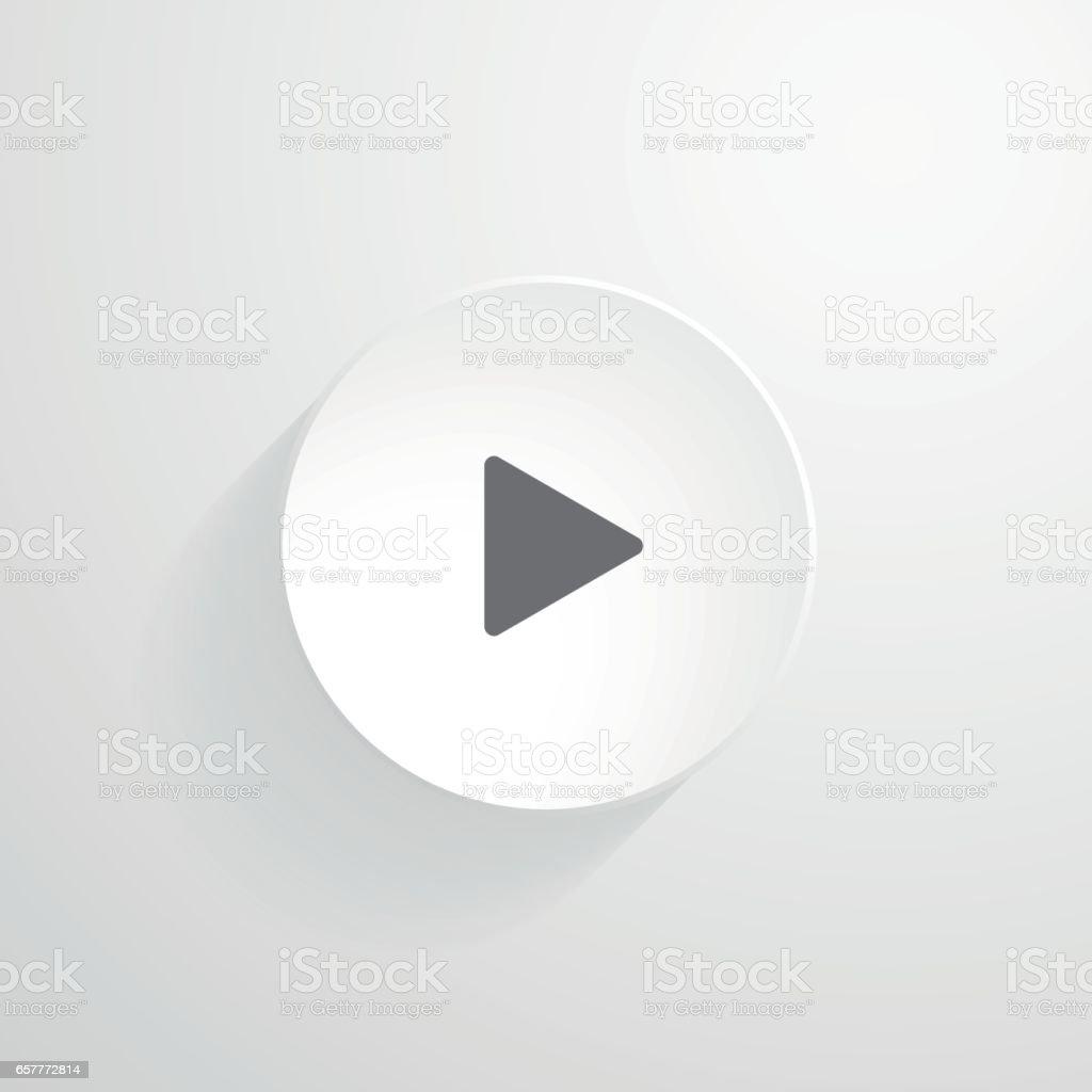 Vector white round button. Play icon vector art illustration