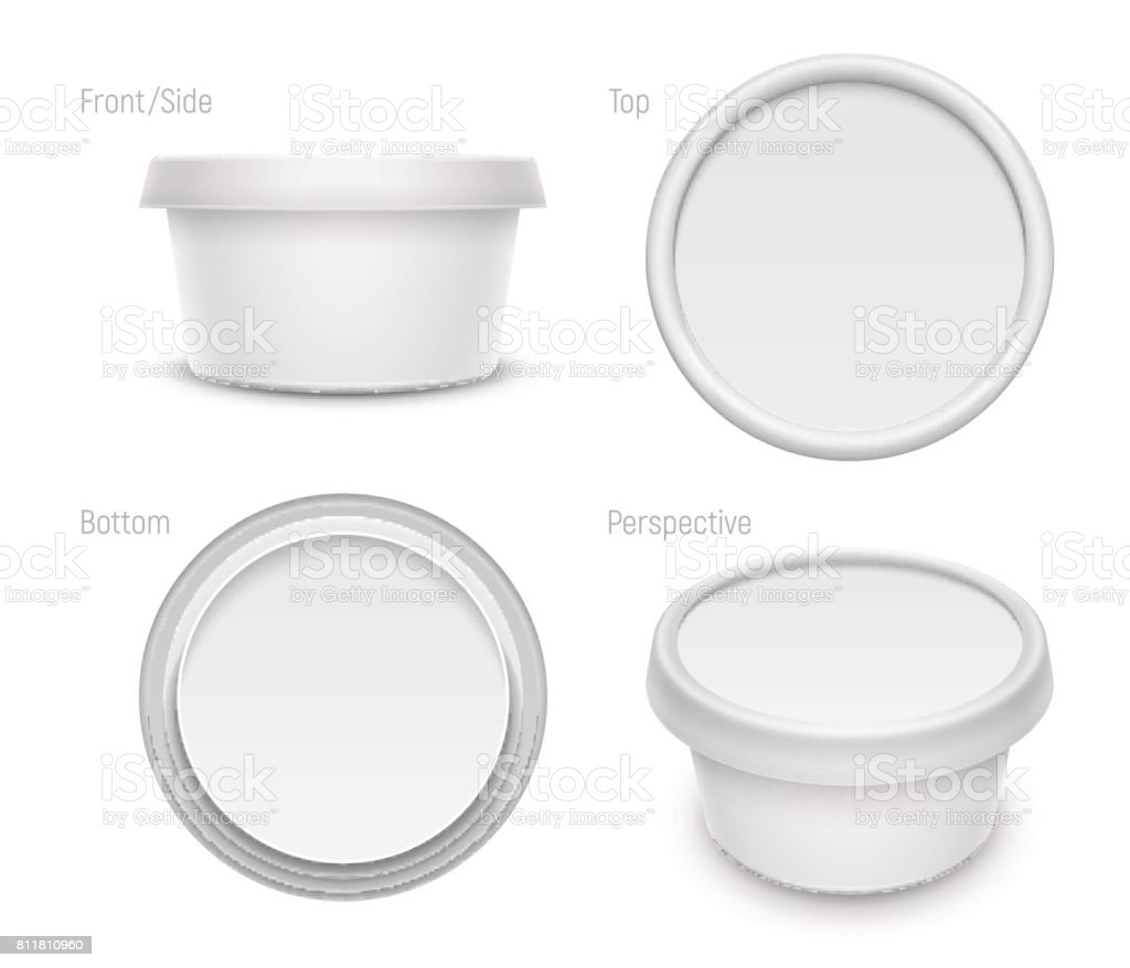 Vector white round container for cosmetics cream, butter or margarine spread. Packaging template illustration. vector art illustration