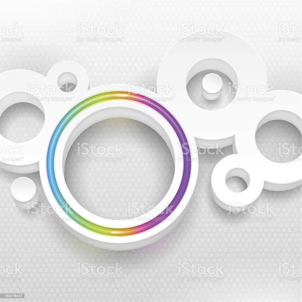 Vector white round shape with multicolor neon circle royalty-free stock vector art