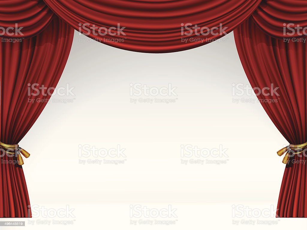Vector White Scene with Isolated Red Curtains vector art illustration