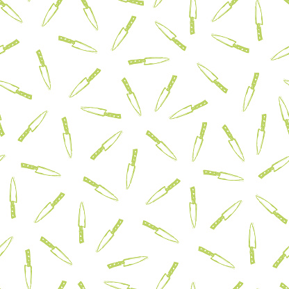 Vector white seamless pattern with green hand drawn kitchen knifes. Perfect for fabric, scrapbooking and wallpaper projects.