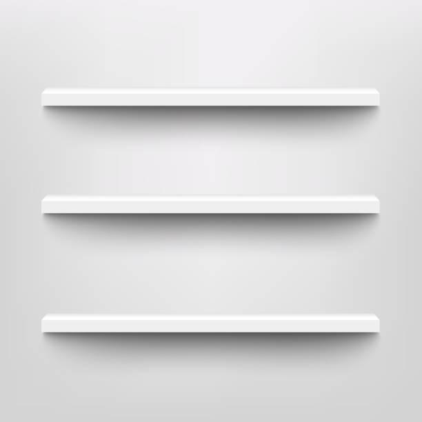 제품 표시 모형을 위한 벡터 흰색 선반 - 책장 stock illustrations