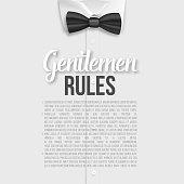 Vector White Shirt. Gentlemen Rules List Template. Realistic Vector Shirt with Bow Tie