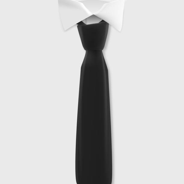 Vector White Shirt Mockup. Realistic Vector Shirt with Black Tie Template vector art illustration