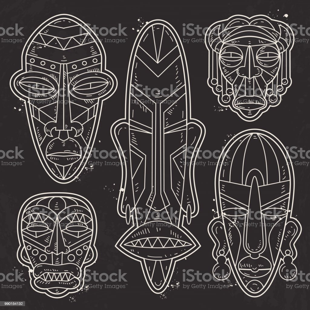 98c7d8e7f8c81 Vector, white silhouette, set of African Ethnic Tribal masks, tattoo  royalty-free