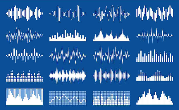 vector white sound wave and equalizer icons - sound wave stock illustrations, clip art, cartoons, & icons