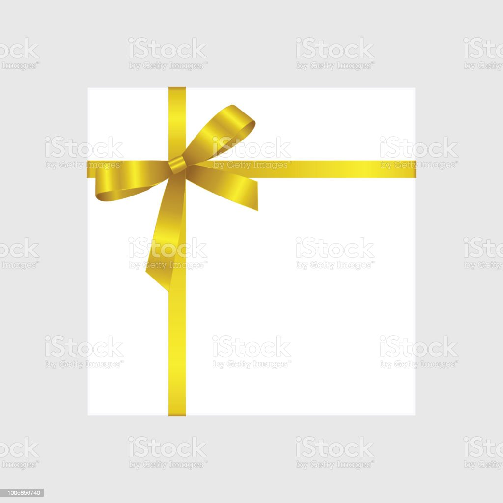 Vector White Square Gift Box With Shiny Yellow Satin Bow Isolated On