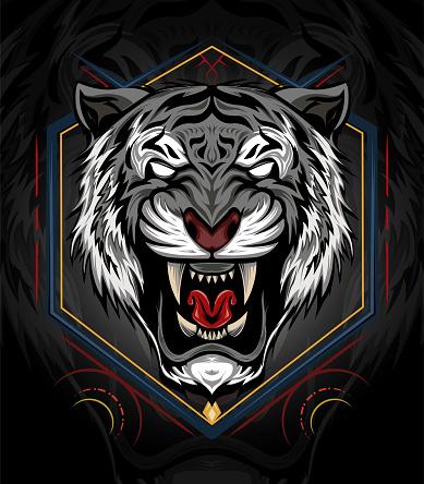 vector white tiger. Tiger head illustration. design for T shirt , mascot, logo team, sport, metal printing, wall art, sticker. Vector illustration style