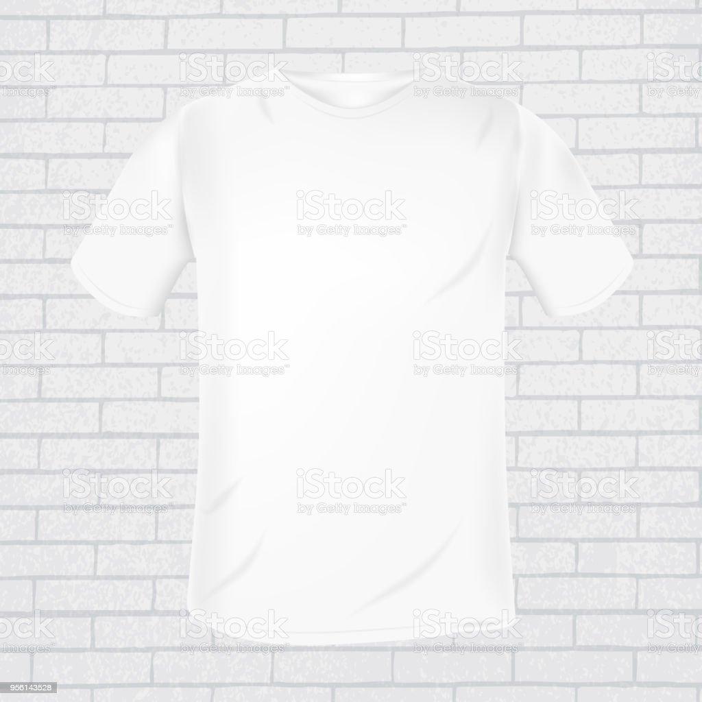 Vektor Weißen Tshirt Vorlage Auf Grauen Ziegel Wand Hintergrund ...
