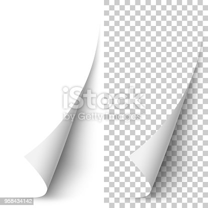 Vector white vertical paper corner rolled up with soft shadow on white and transparent background. 3D page corner curled. Realistic design element.
