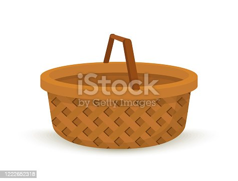 istock Vector wicker basket, handcrafted willow box with handle 1222652318
