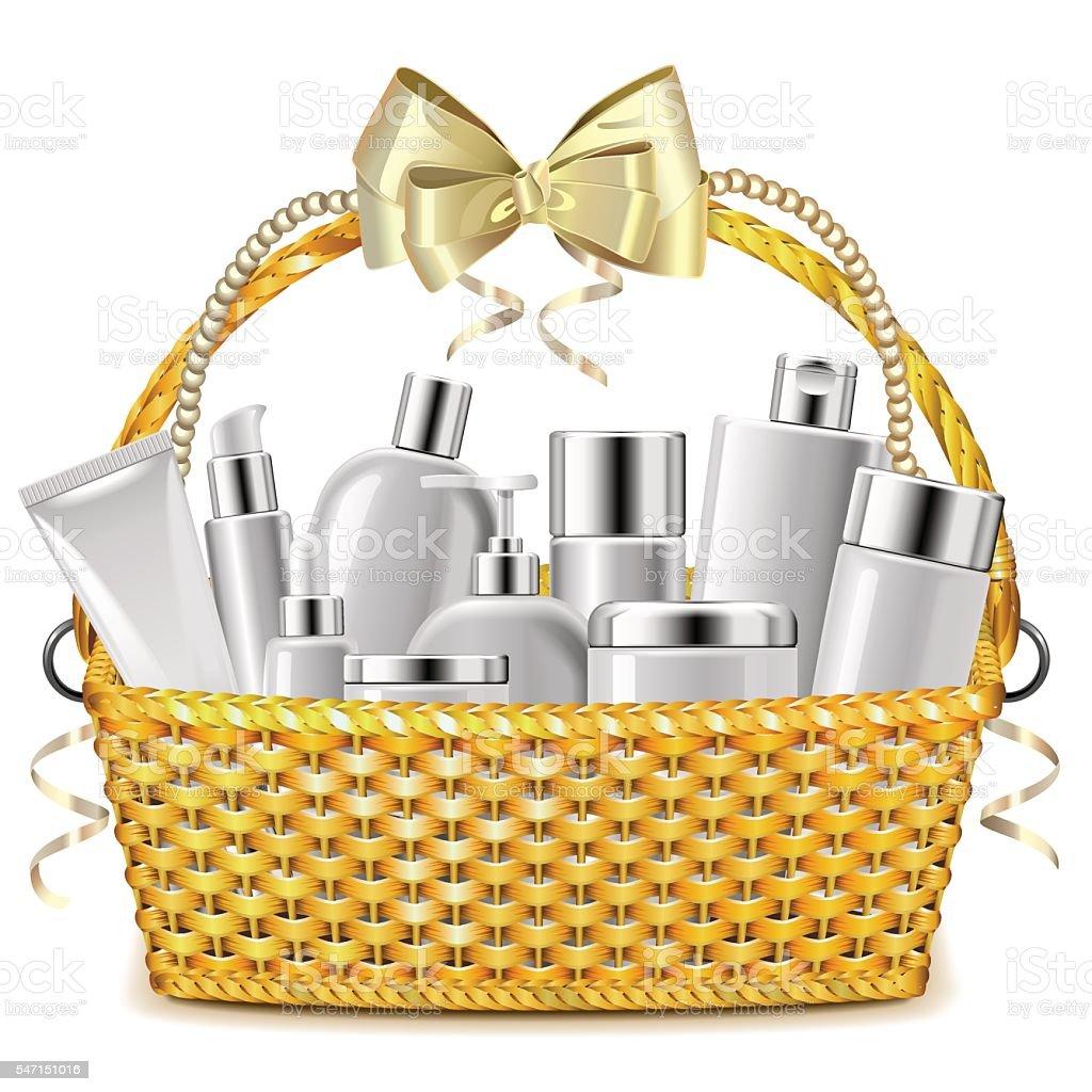 Vector Wicker Basket with Cosmetics vector art illustration