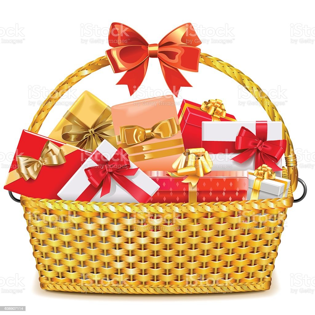 Vector Wicker Basket with Gifts vector art illustration
