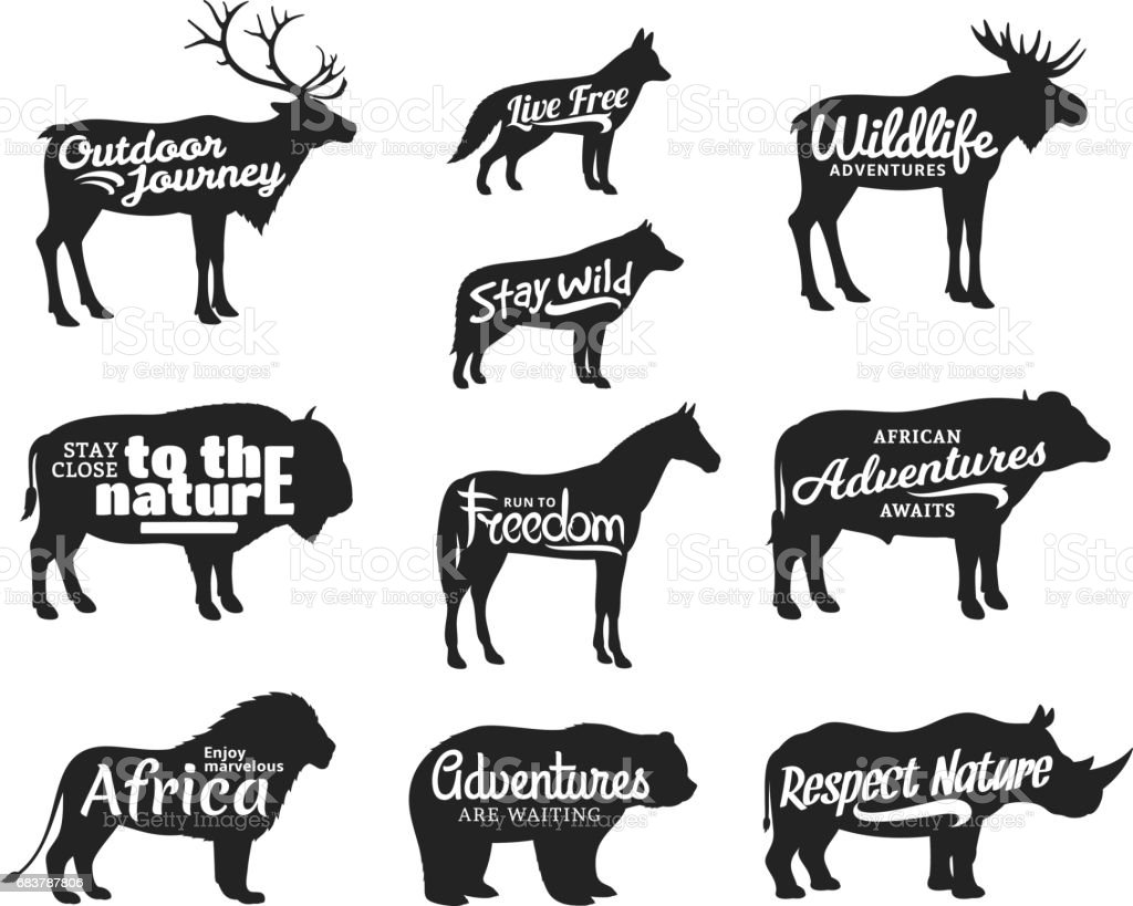 Vector wild animals silhouettes. Wild life adventures icons vector art illustration